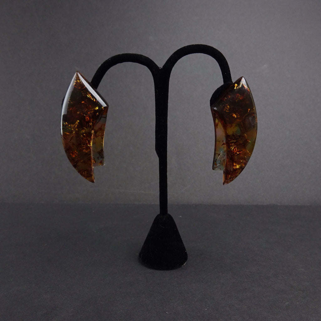 2000s Amber Gold Leaf Horn Shaped Earrings