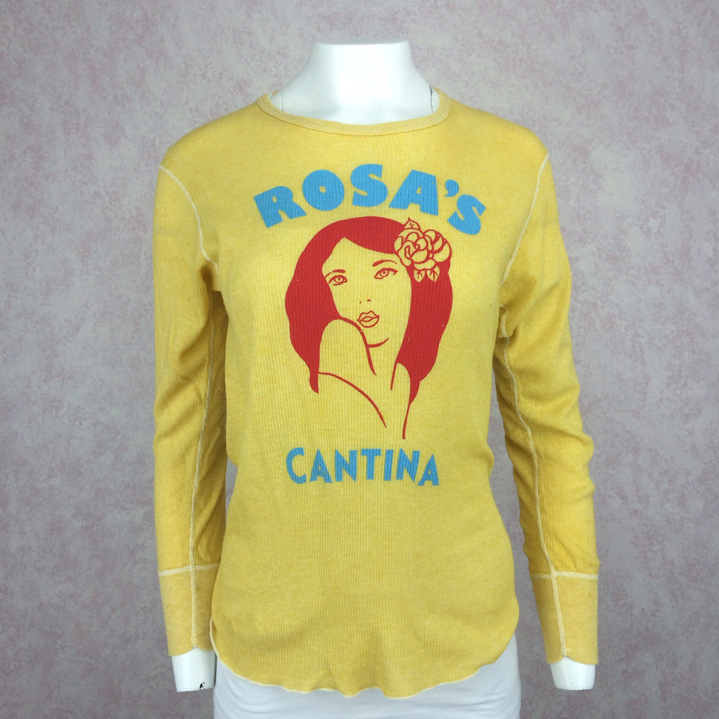 "2000s Distressed Knit Shirt w/""Rosa's Cantina"" Print, Front"