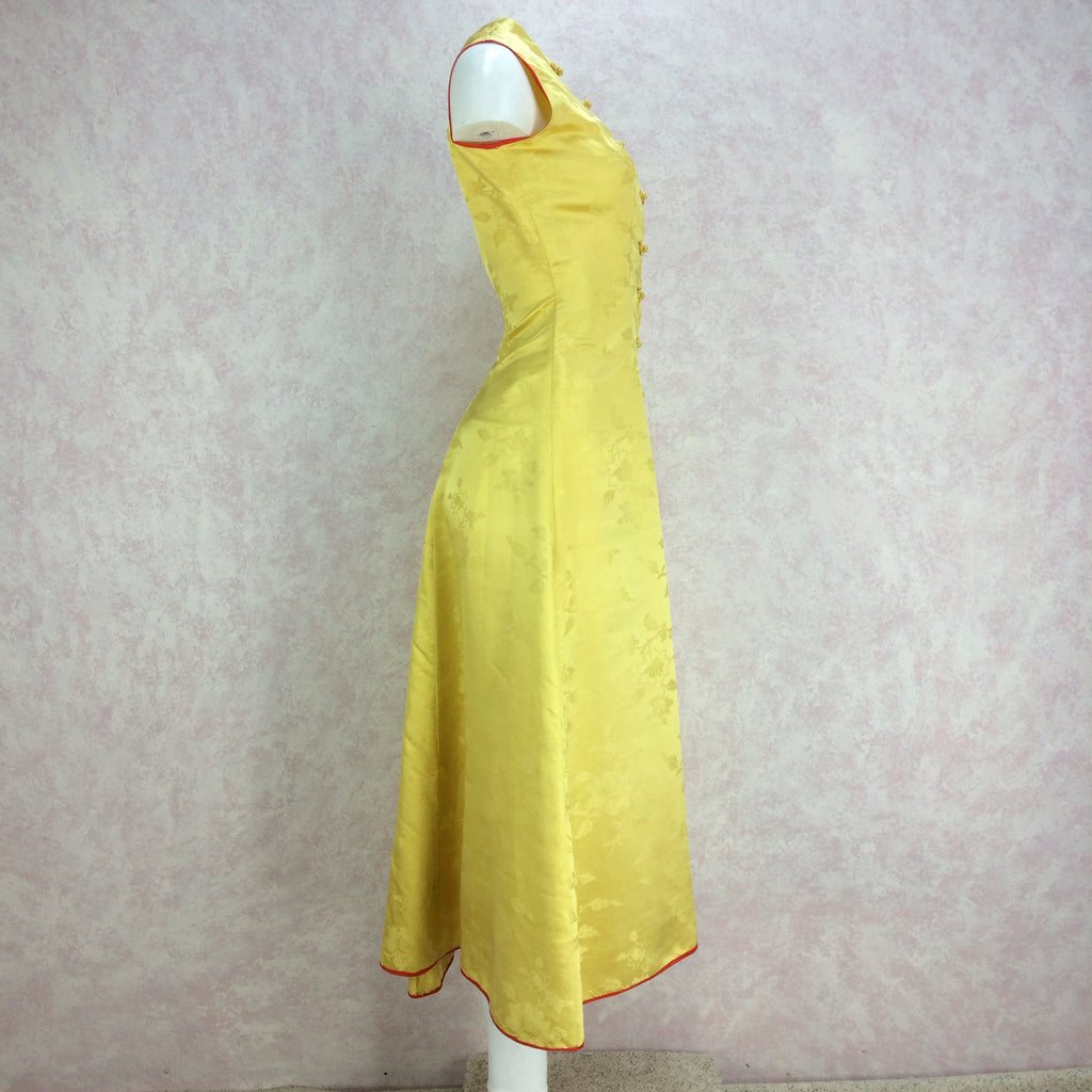 Vintage 50s Silk Chinese-Style Hostess Dress, Side 2