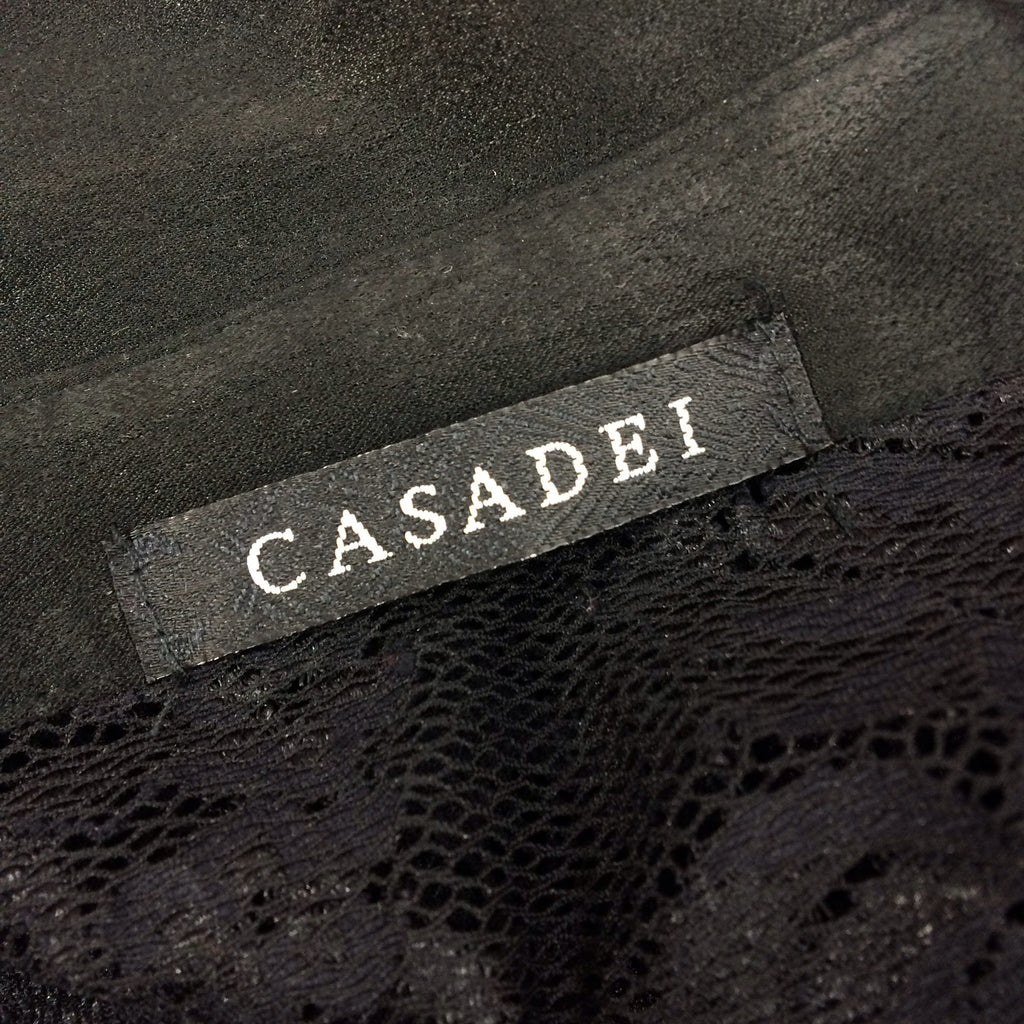 2000s CASADEI Black Lace Lace-Up Blouse, Label