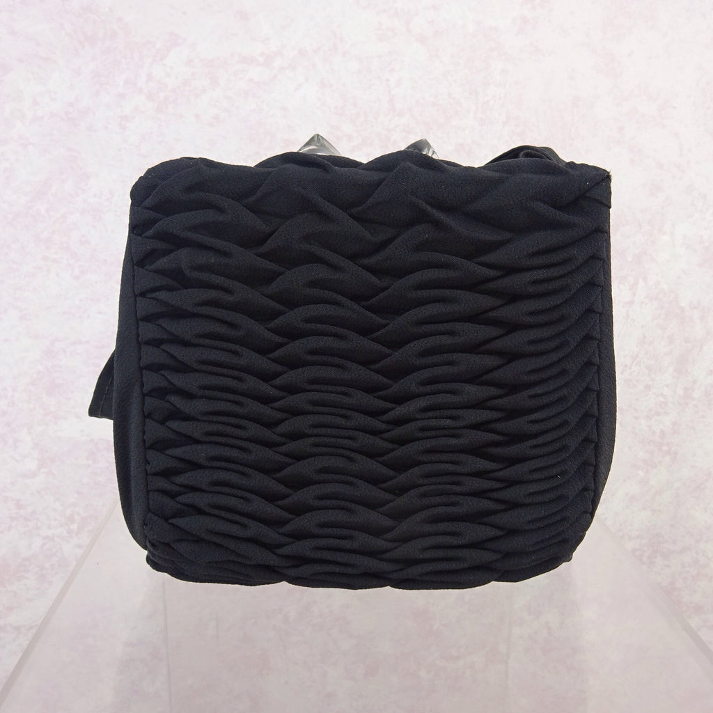 Vintage 40s Pleated Fabric Purse w/Lucite Hardware