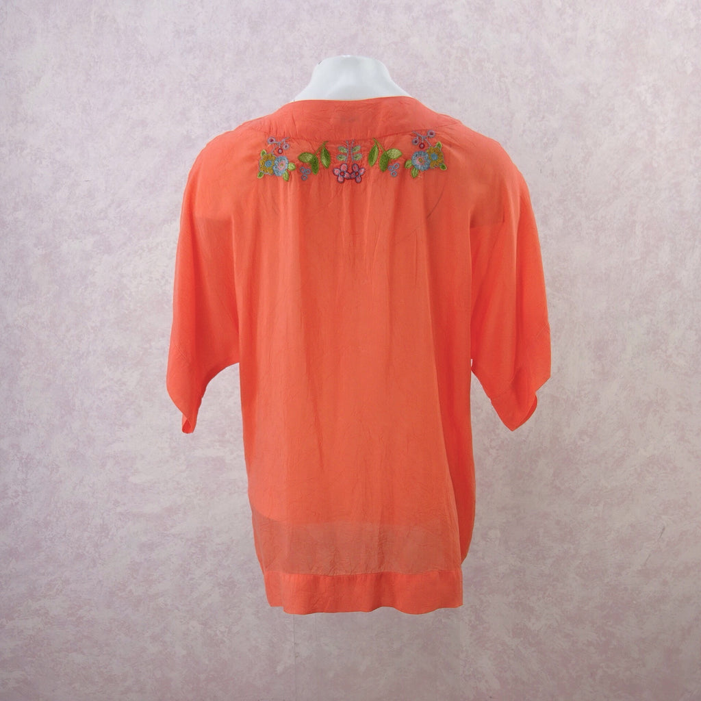 2000s JOHNNY WAS Rayon Embroidered Top, NOS.  b