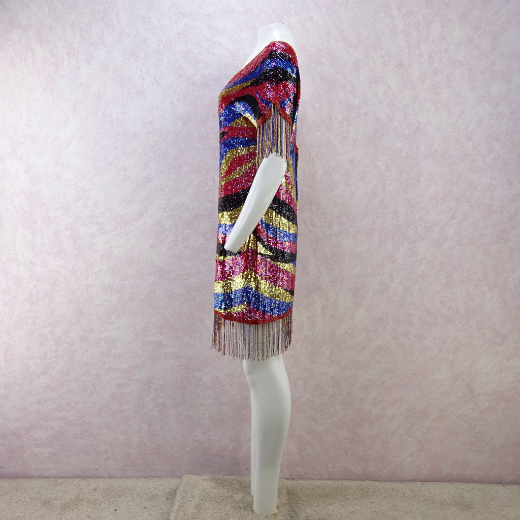 Vintage 80s Solid Colorful Sequin Dress w/Beaded Fringe n