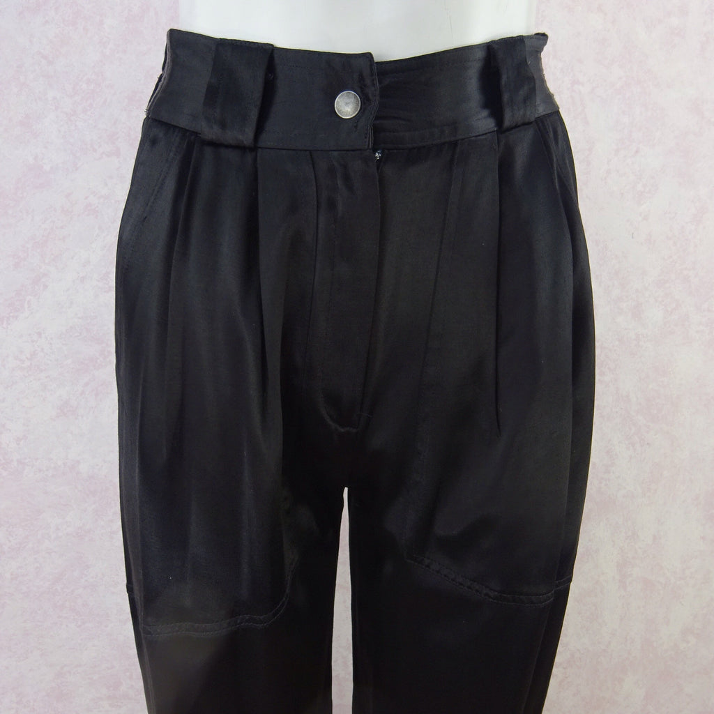 2000s CHANGES High- Waisted Black Satin Pants, NOS f2