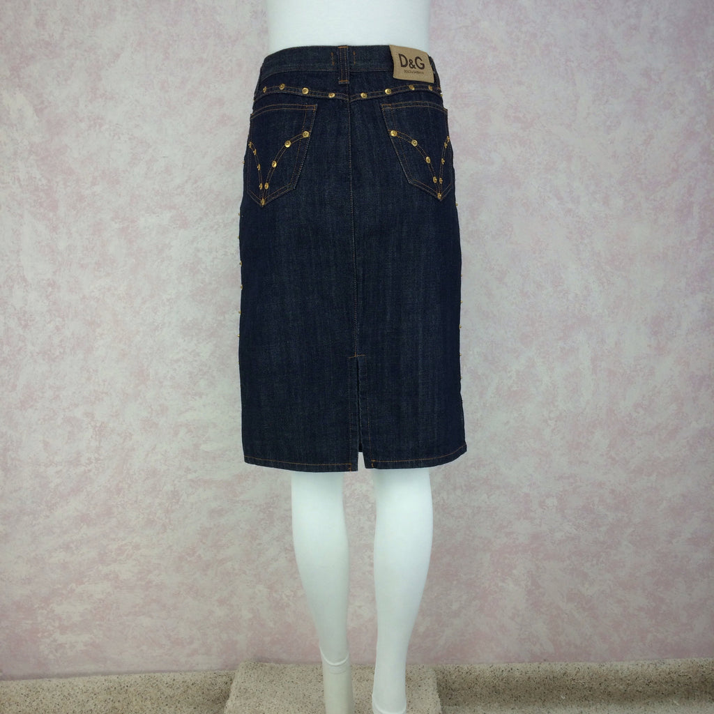 2000s D&G Denim Skirt w/Studs, Back