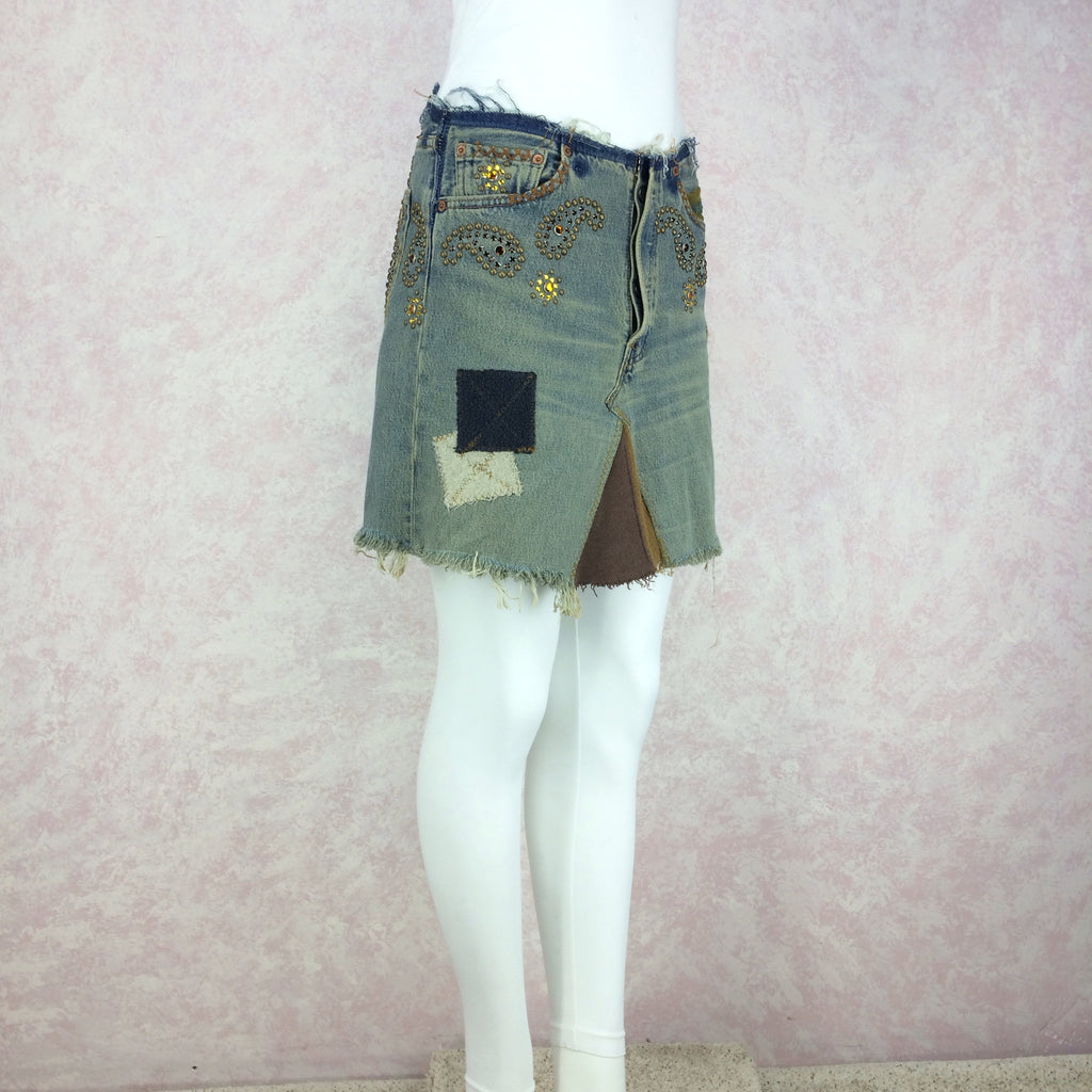 2000s Repurposed Denim Skirt w/Studs & Patches, Side