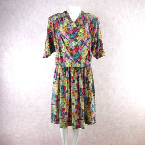 Vintage 80s Ribbed Lurex Glitter Dress w/Double Flounce
