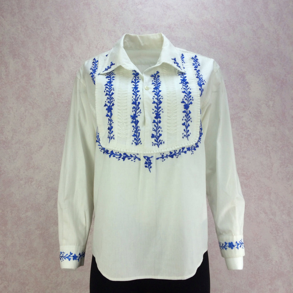 Vintage 70s Ethnic Bib-Front Embroidered Blouse, Front
