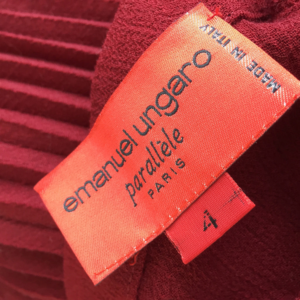 Vintage 80s UNGARO Wool Pleated Skirt, label