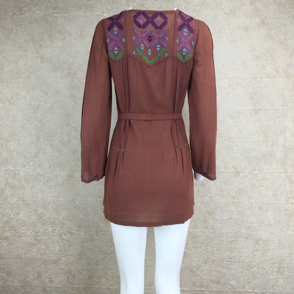 Vintage 70s Emmanuelle Khanh Embroidered Tunic, Back
