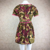 Vintage 60s Renaissance Print Linen Mini Dress, Back