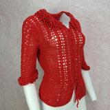 Vintage 70s Vibrant Hand Crochet Top, Side