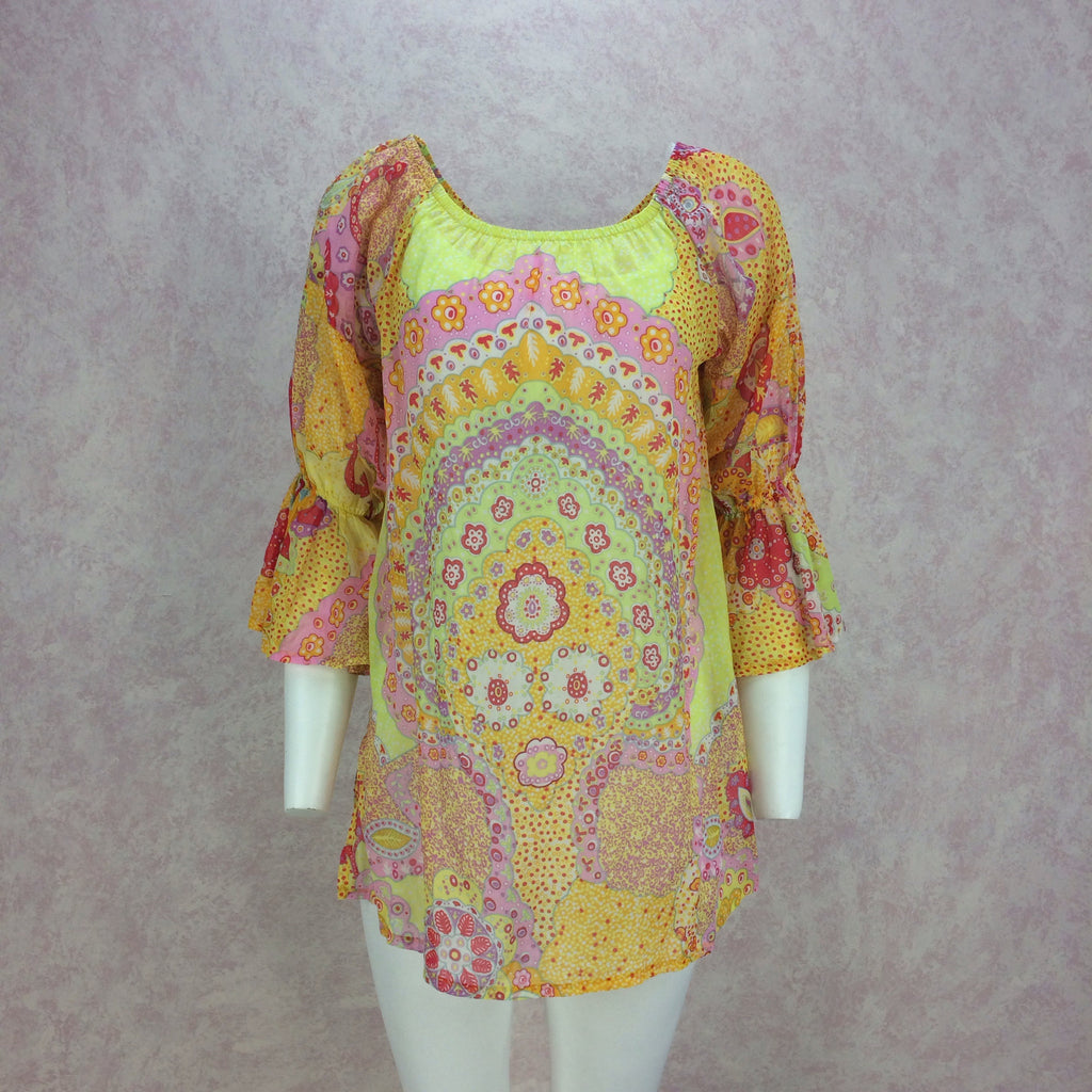 2000s La Perla Printed Cotton Tunic, Front no jewelry