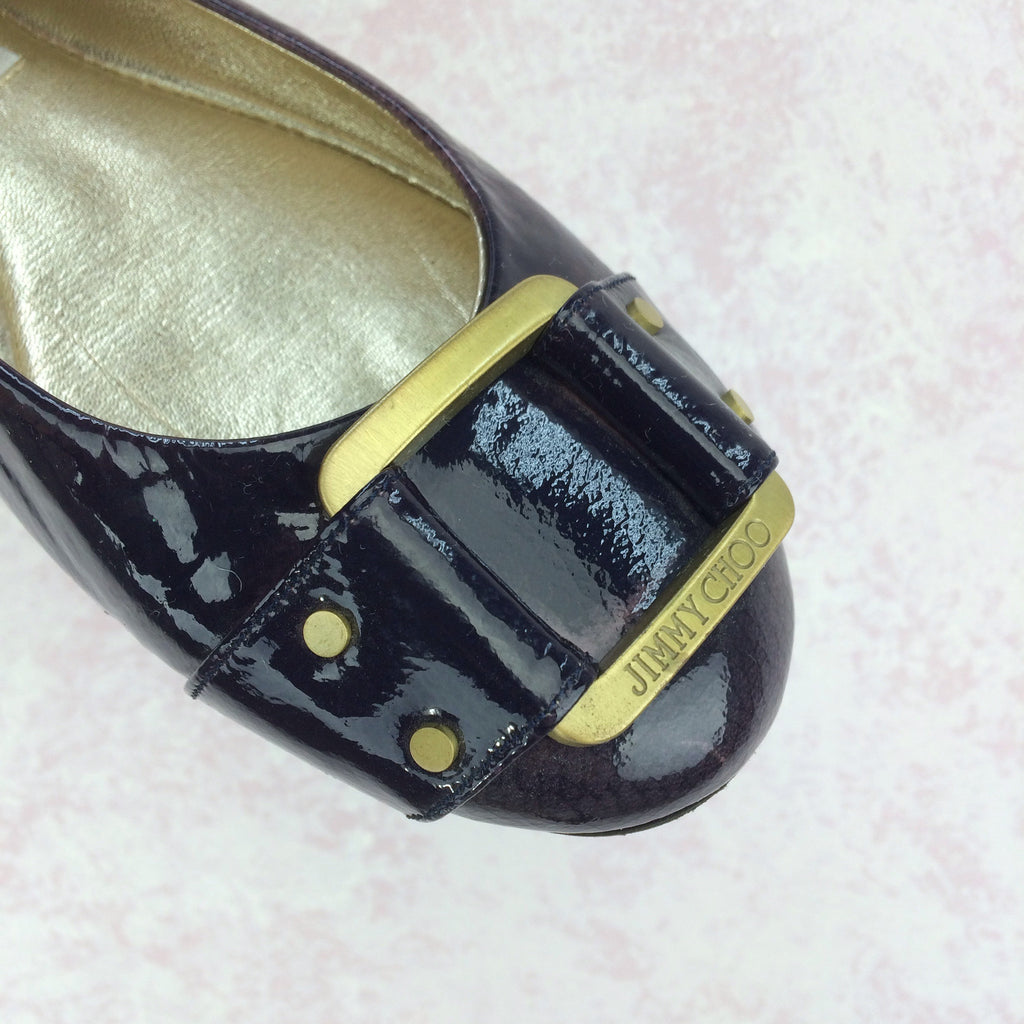 2000s JIMMY CHOO Patent Leather Ballerina Loafers, Toe