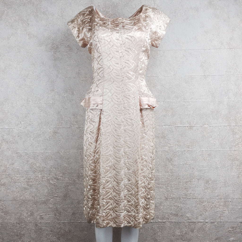 Vintage 50s Embroidered Satin Dress front