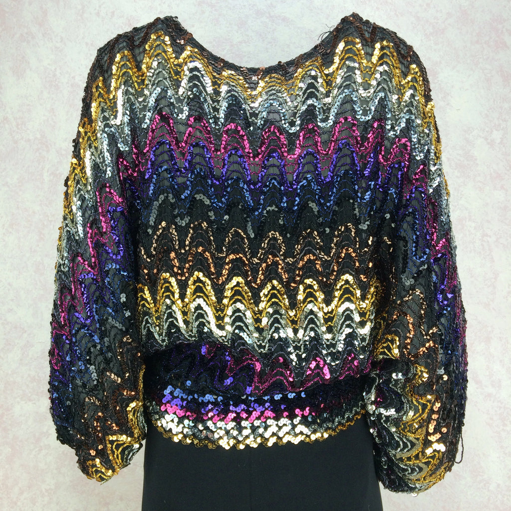 Vintage 80s Rainbow Sequin Top w/Dolman Sleeves, Front