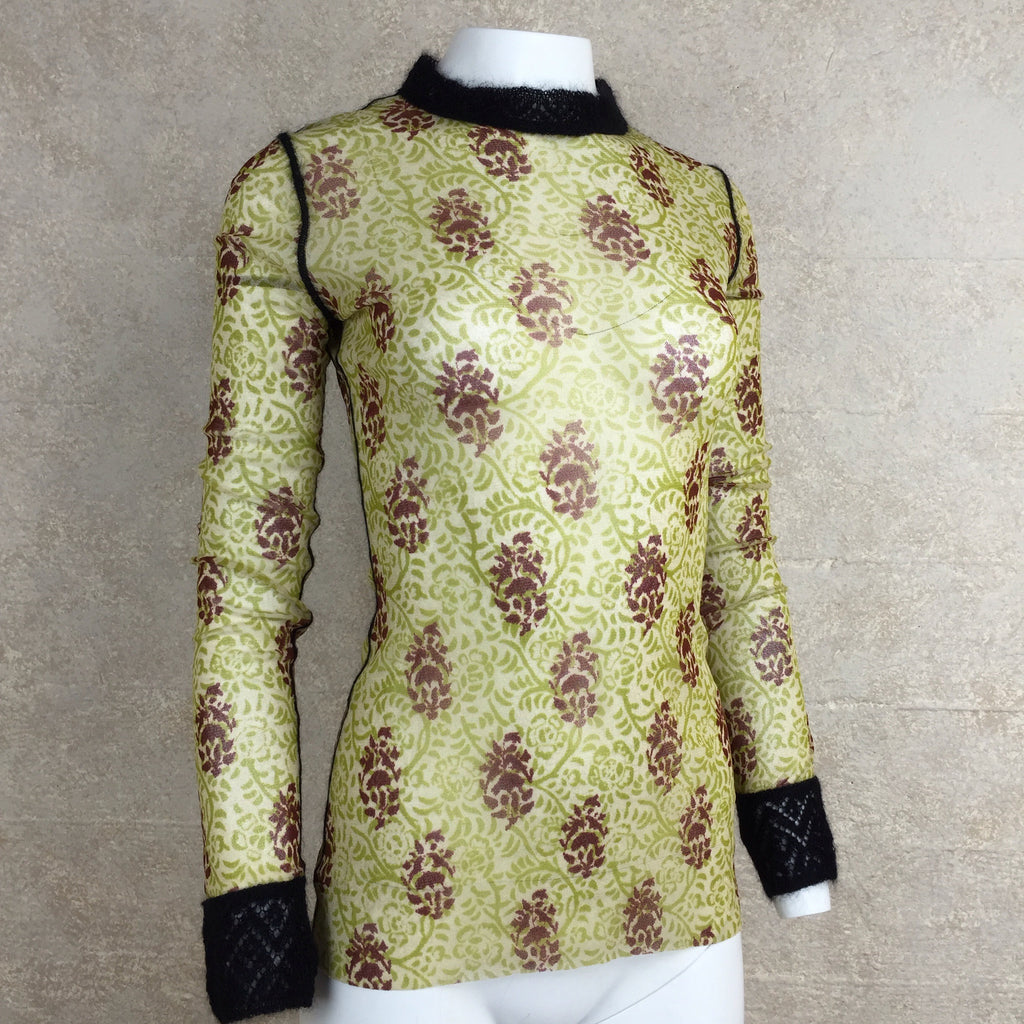 2000s GAULTIER Mesh Paisley Pattern Top, Side