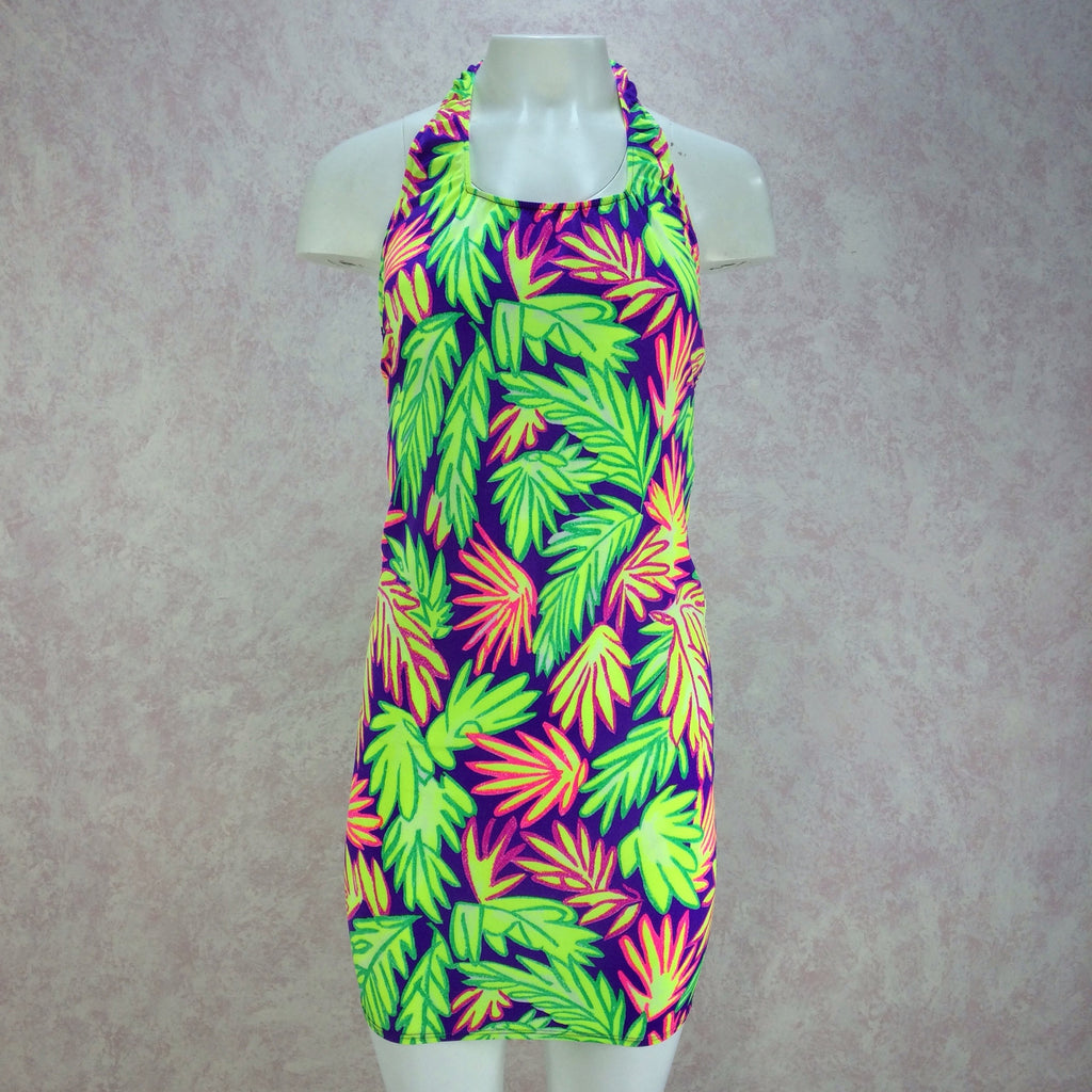 Vintage 90s Neon Lime Body Con Stretch Tropical Dress, F