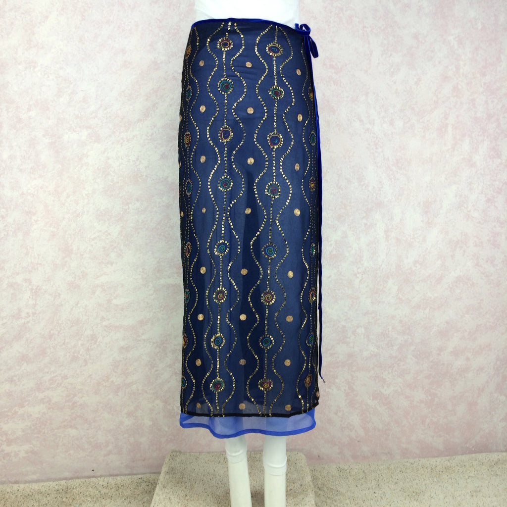 2000s HEIDI ABRA Sequin & Embroidered Skirt, Front