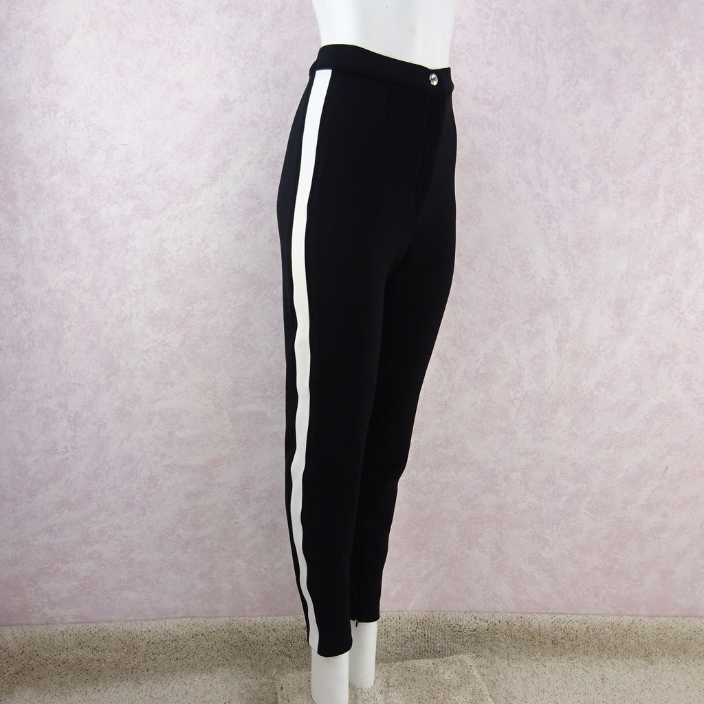 2000s D & G Black Pants w/White Band Down Side side