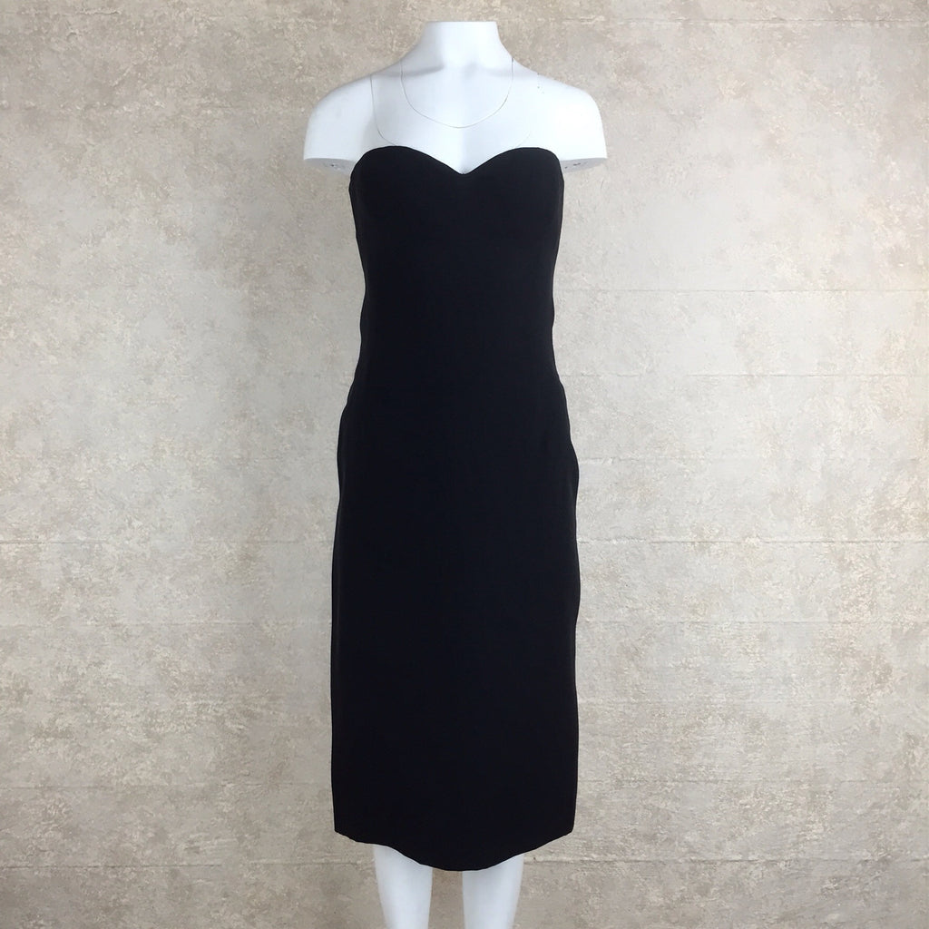 2000s Jean Louis Scherrer Black Strapless Dress front