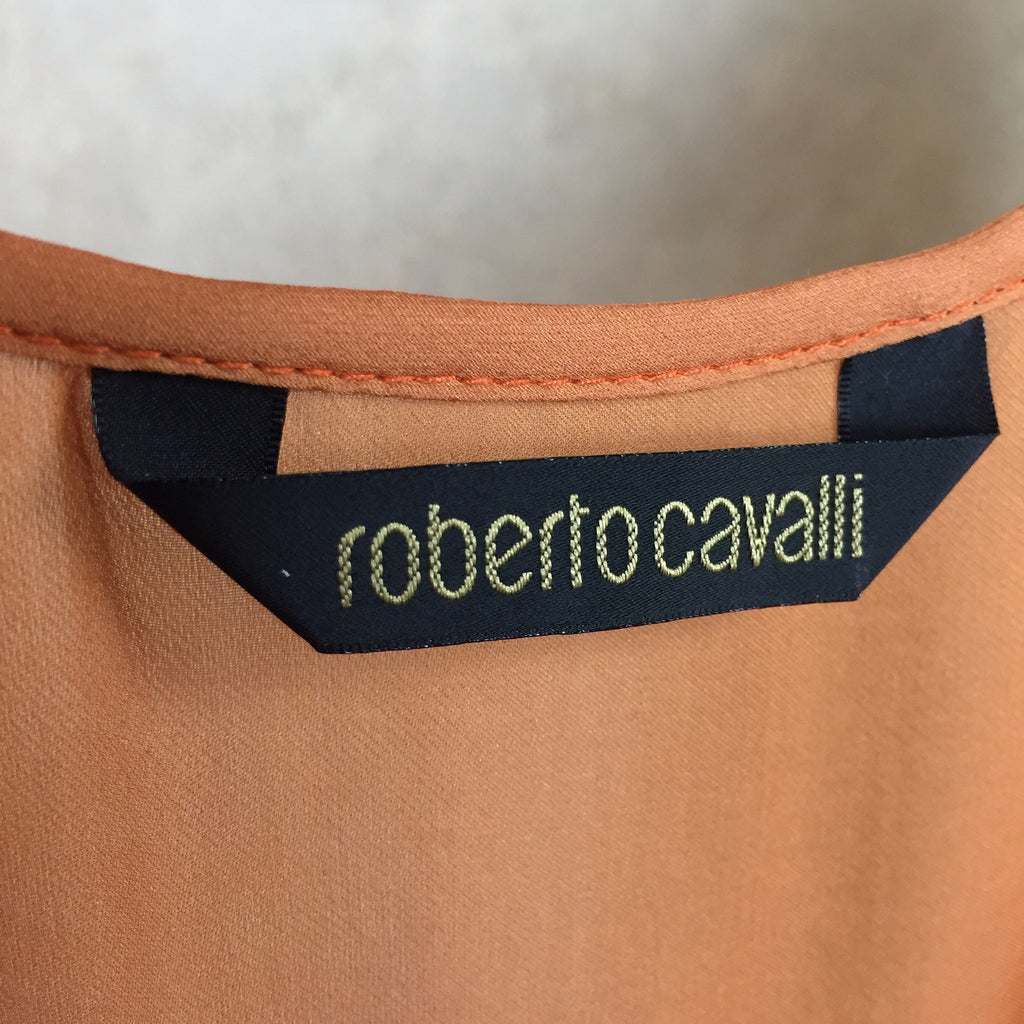 2000s ROBERTO CAVALLI Silk Lace-Up Blouse, Label