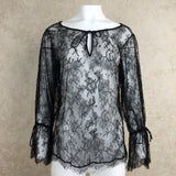 2000s Black Chantilly Lace Boho Blouse, Front