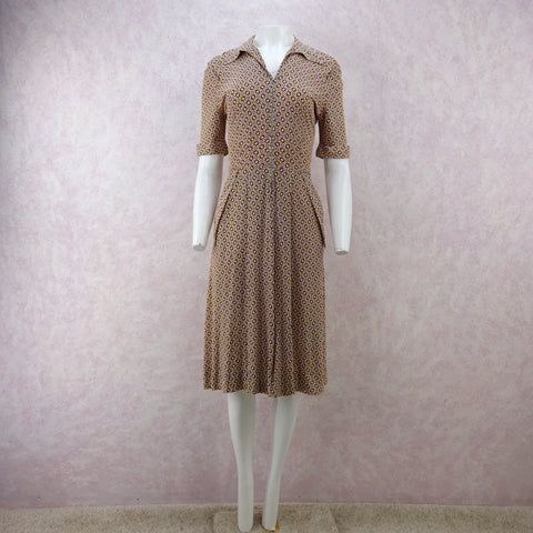 Vintage 40s Taffeta Dress w/ Multi-Layered Side Draping