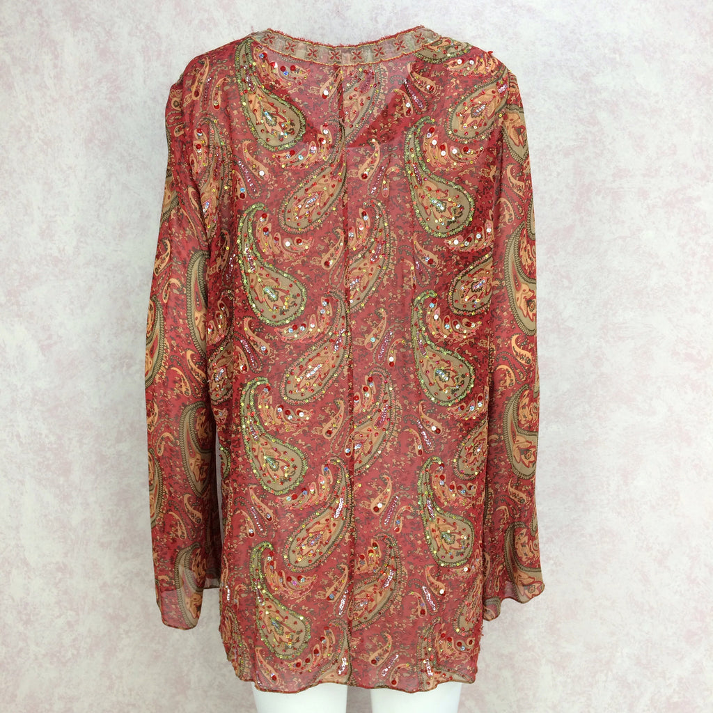 2000s Silk Paisley Tunic w/Colorful Beading Detail, Back