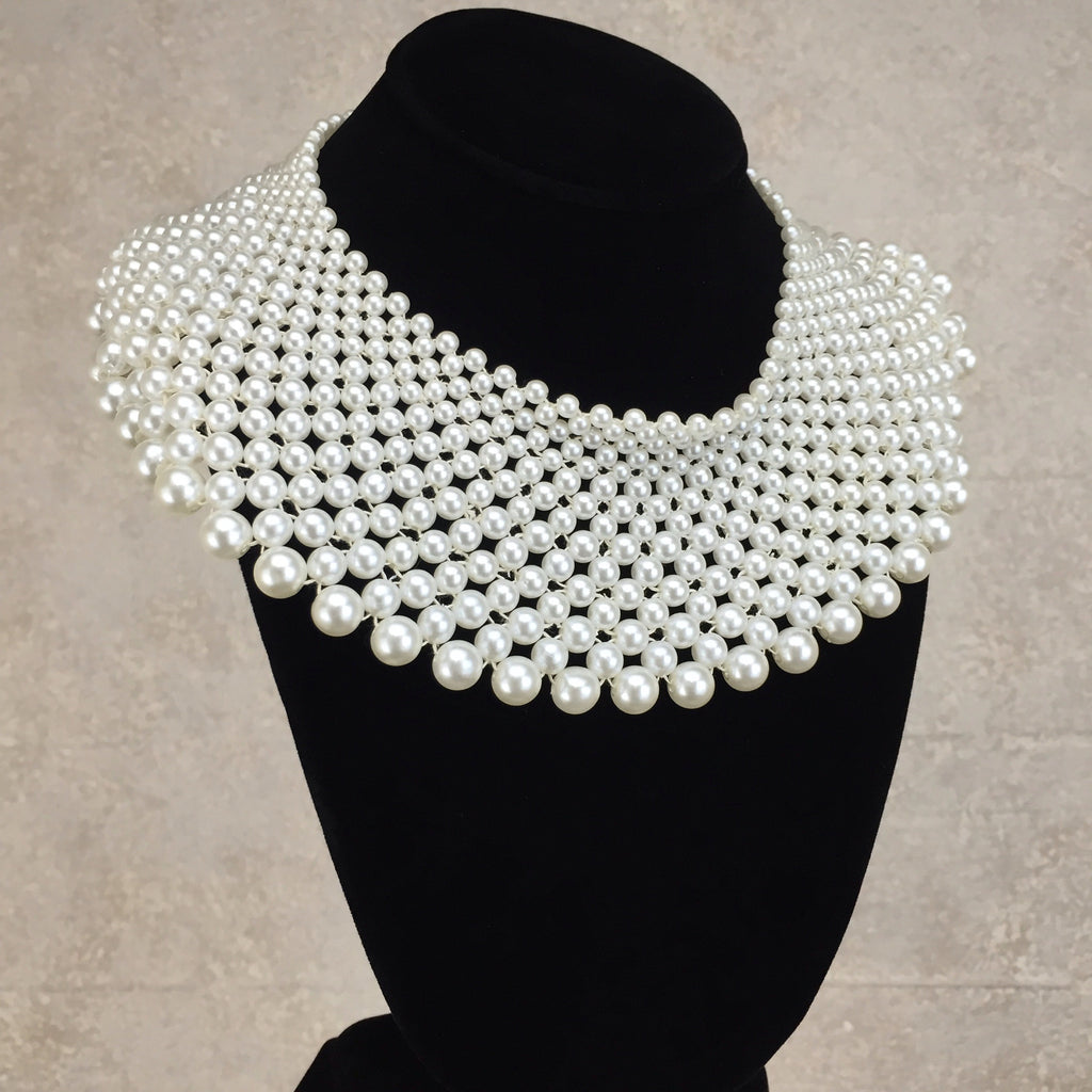 2000s 15 Row Wide Pearl Collar Necklace, Side