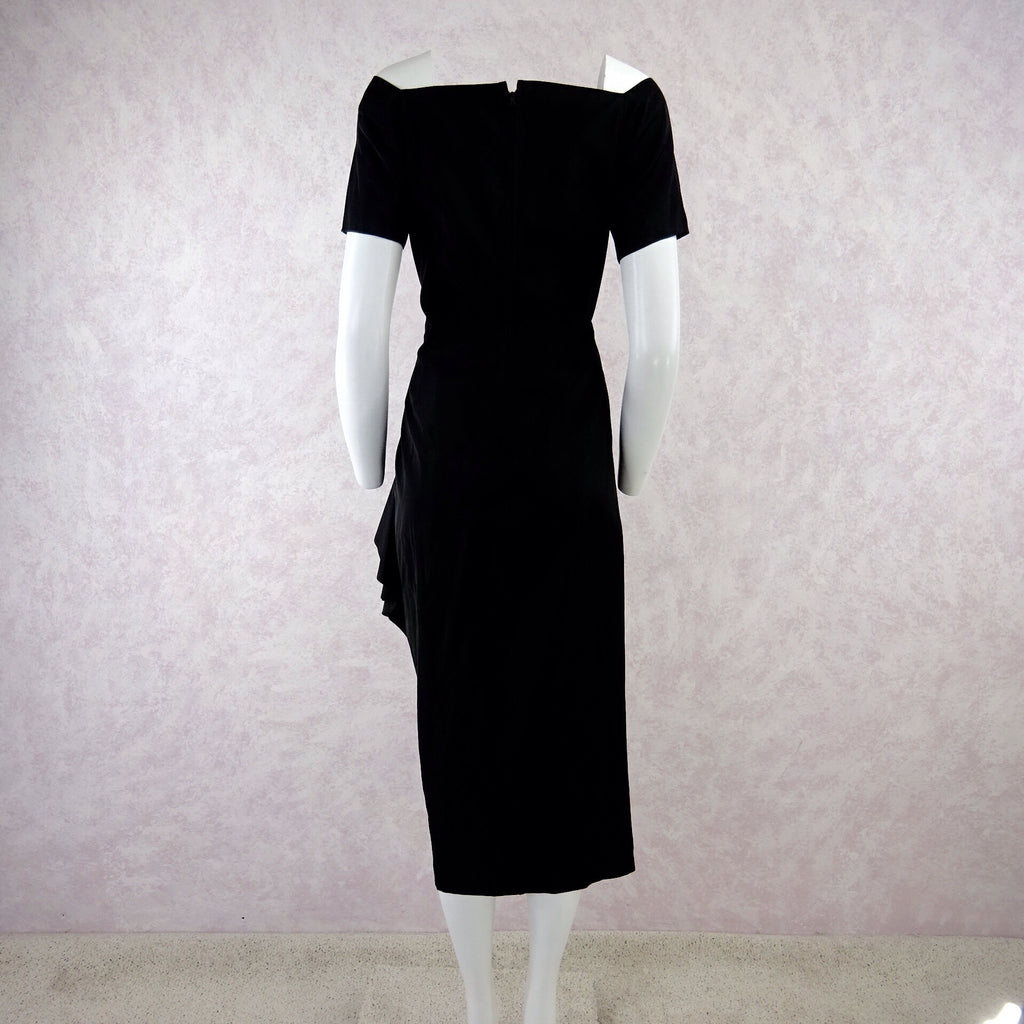 Vintage 40s Taffeta Dress w/Multi-Layered Side Drapingb