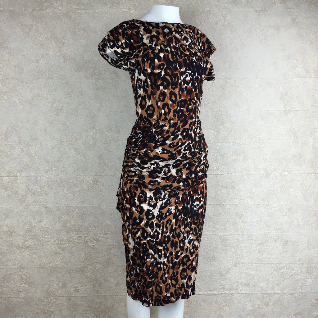 Vintage 90s Leopard Print Stretch Dress, Side