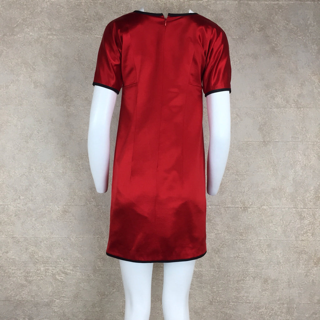 Vintage 80s BEENE Satin Dress w/Fluerettes, Back