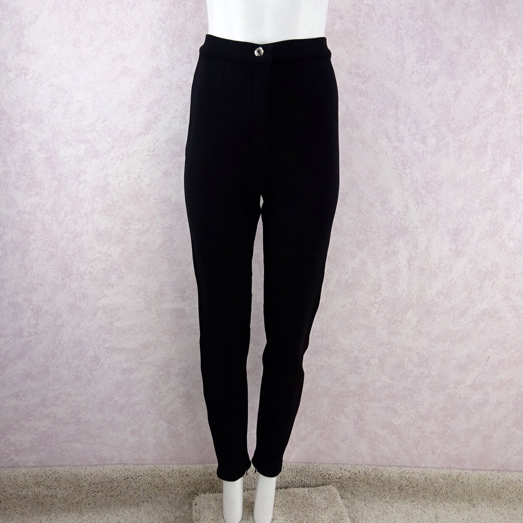 2000s D & G Black Pants w/White Band Down Side front