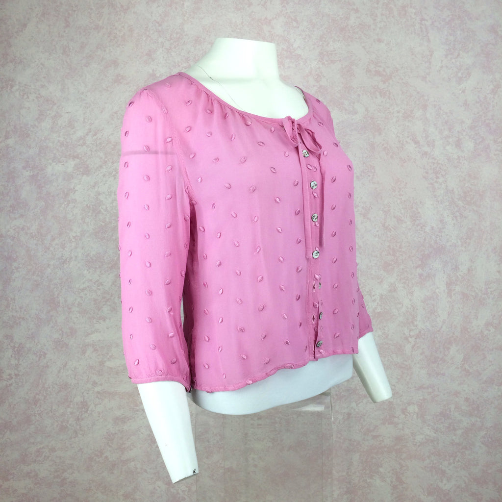 2000s GHOST Pink Swiss Dot Button Front Top, Side