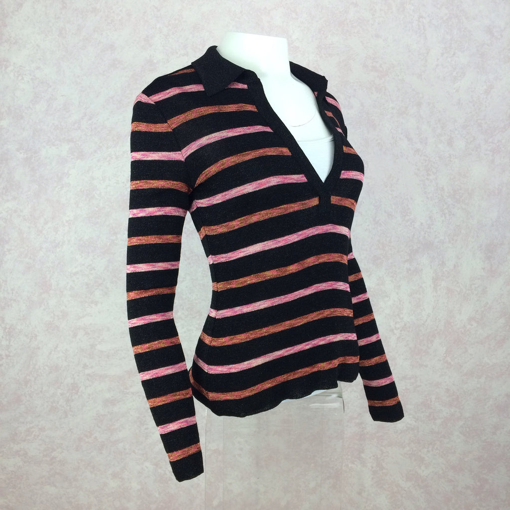 2000s Knit Striped Lurex V-Neck Pullover Sweater, Side