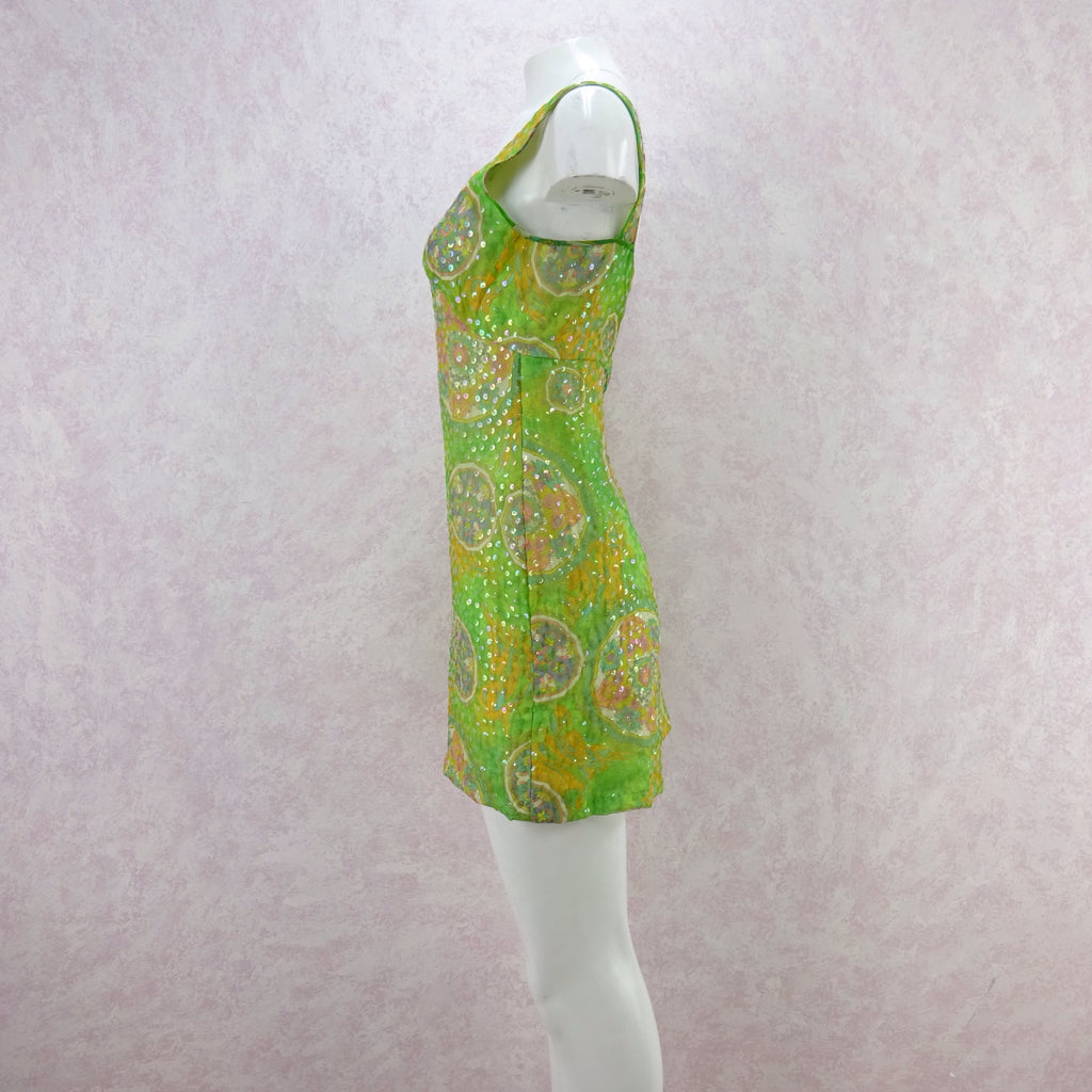 Vintage 60s Psychedelic Print Sequinned Tank Dress fds