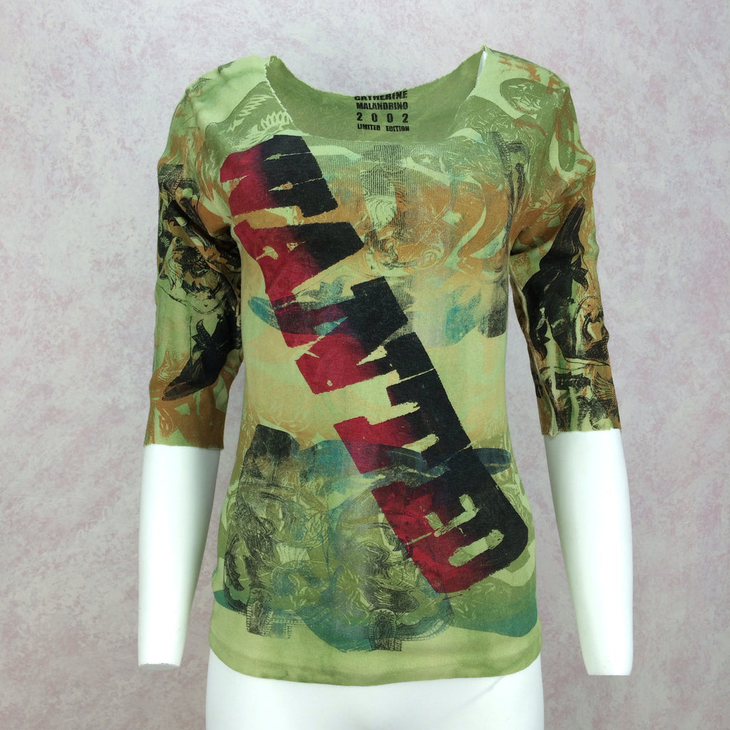 "2000s MALANDRINO Printed ""WANTED"" Top, Front"