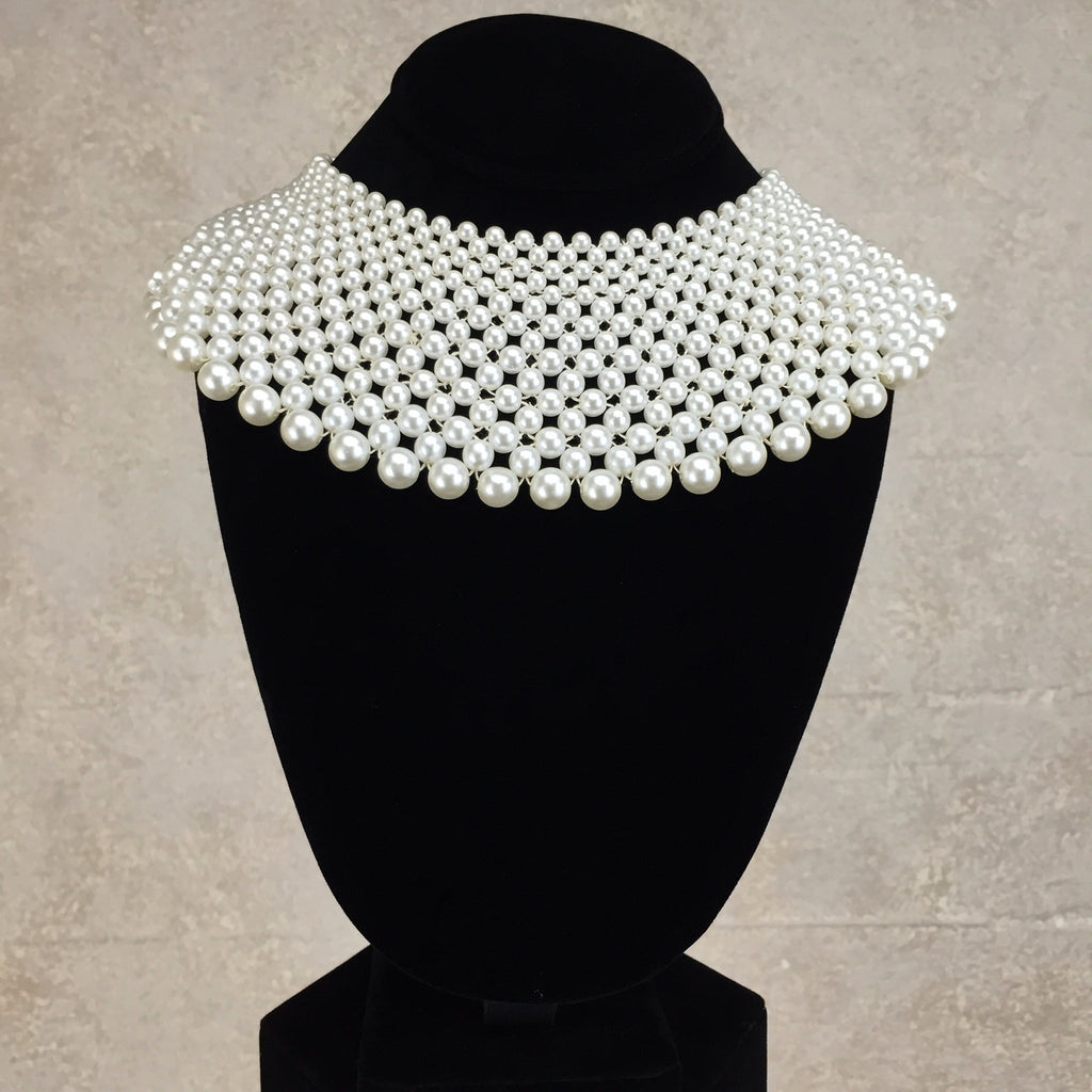 2000s 15 Row Wide Pearl Collar Necklace, Back