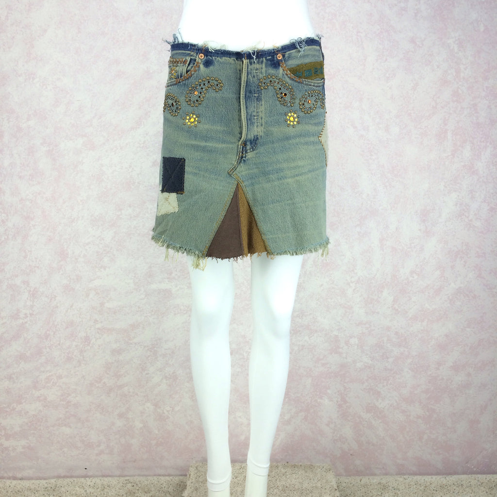 2000s Repurposed Denim Skirt w/Studs & Patches, Front