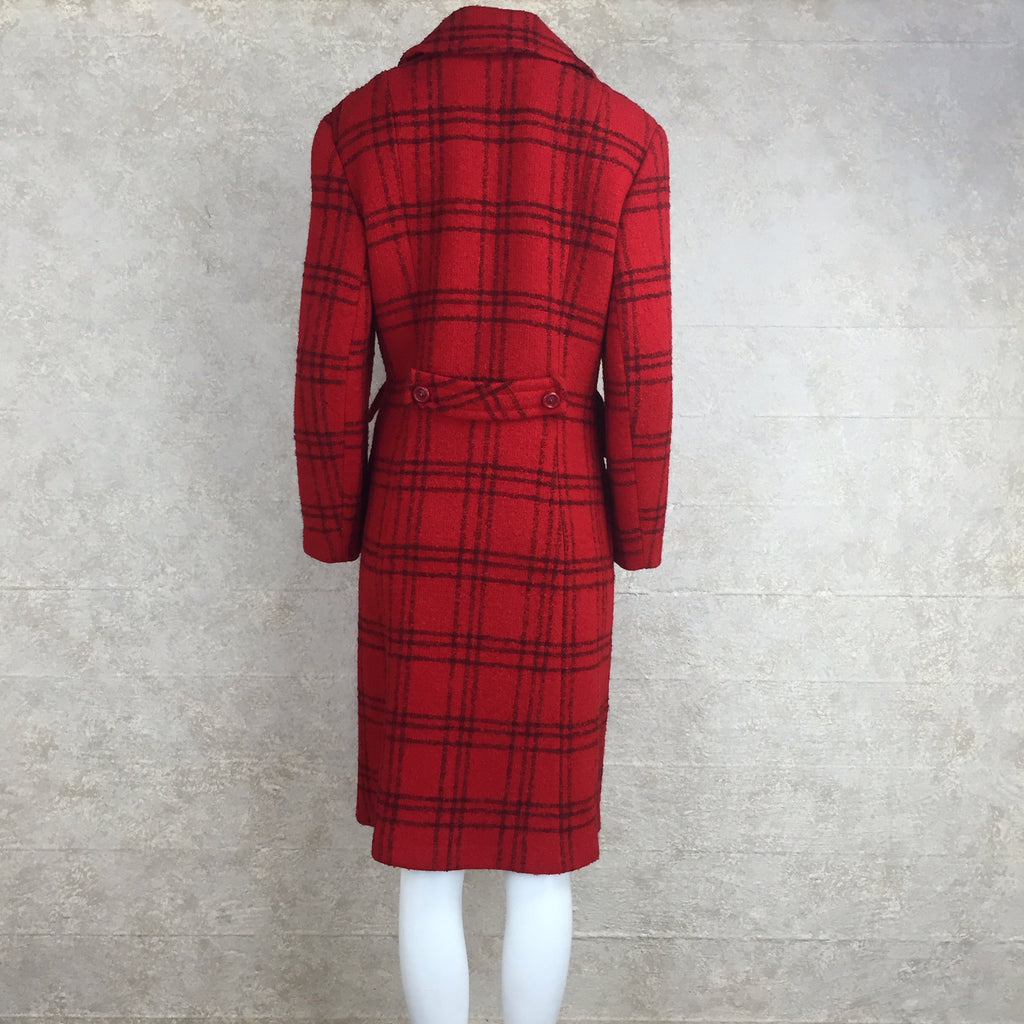 Vintage 70s Double-Breasted Check Wool Coat, back