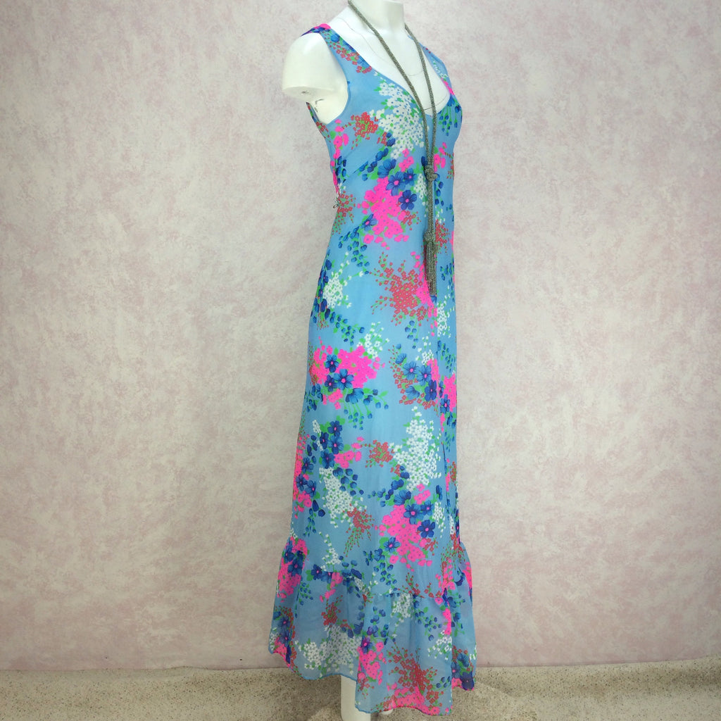 Vintage 70s Floral Flowing Organza Maxi Dress, Side