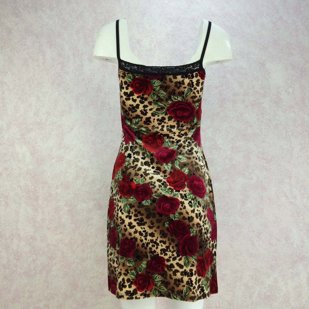 2000s Animal & Rose Print Stretch Slip Dress, NWTff