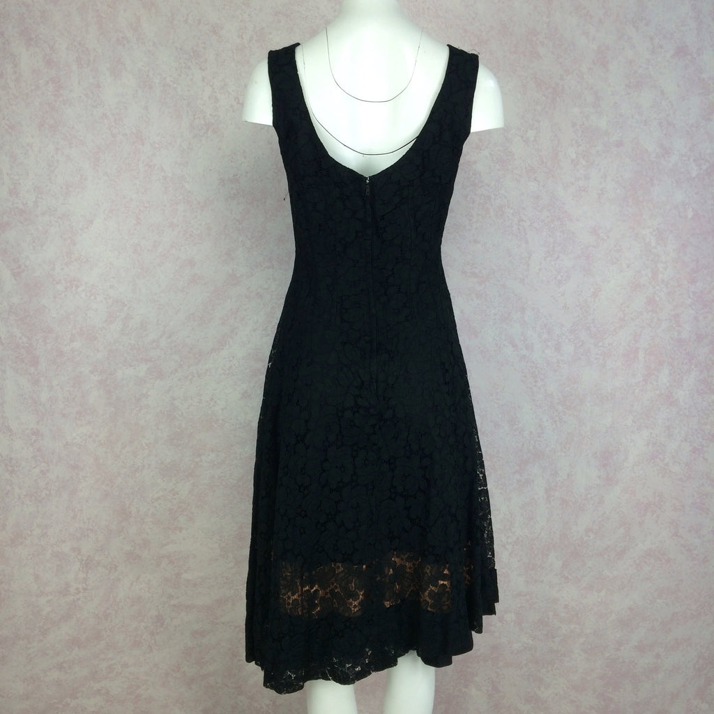 Vintage 60s Sexy Lace Sleeveless Cocktail Dress, Back