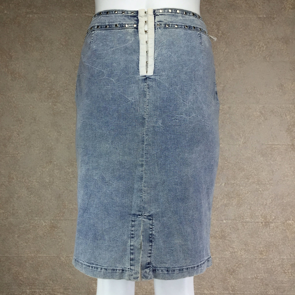 Vintage 90s DOLCE & GABANNALace-Up Denim Skirt, Back