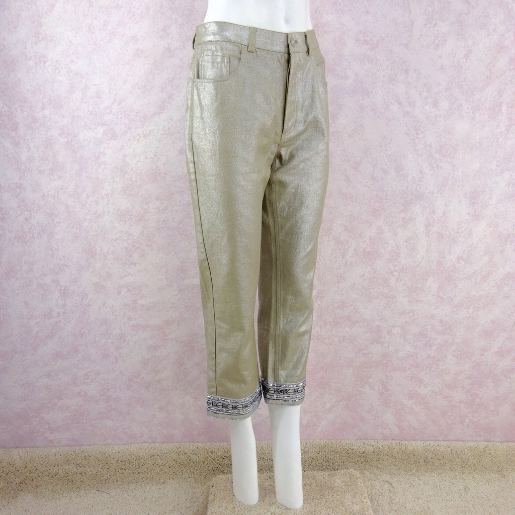 2000s DKNY Metallic Capris w/Trim @ Hem side