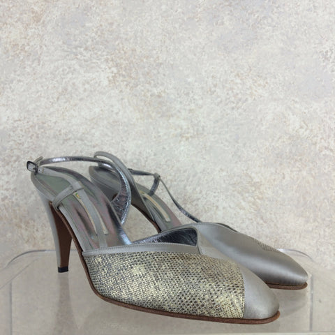 ca551156b Gucci. Vintage 90s GUCCI Lizard & Leather Slingback Shoes