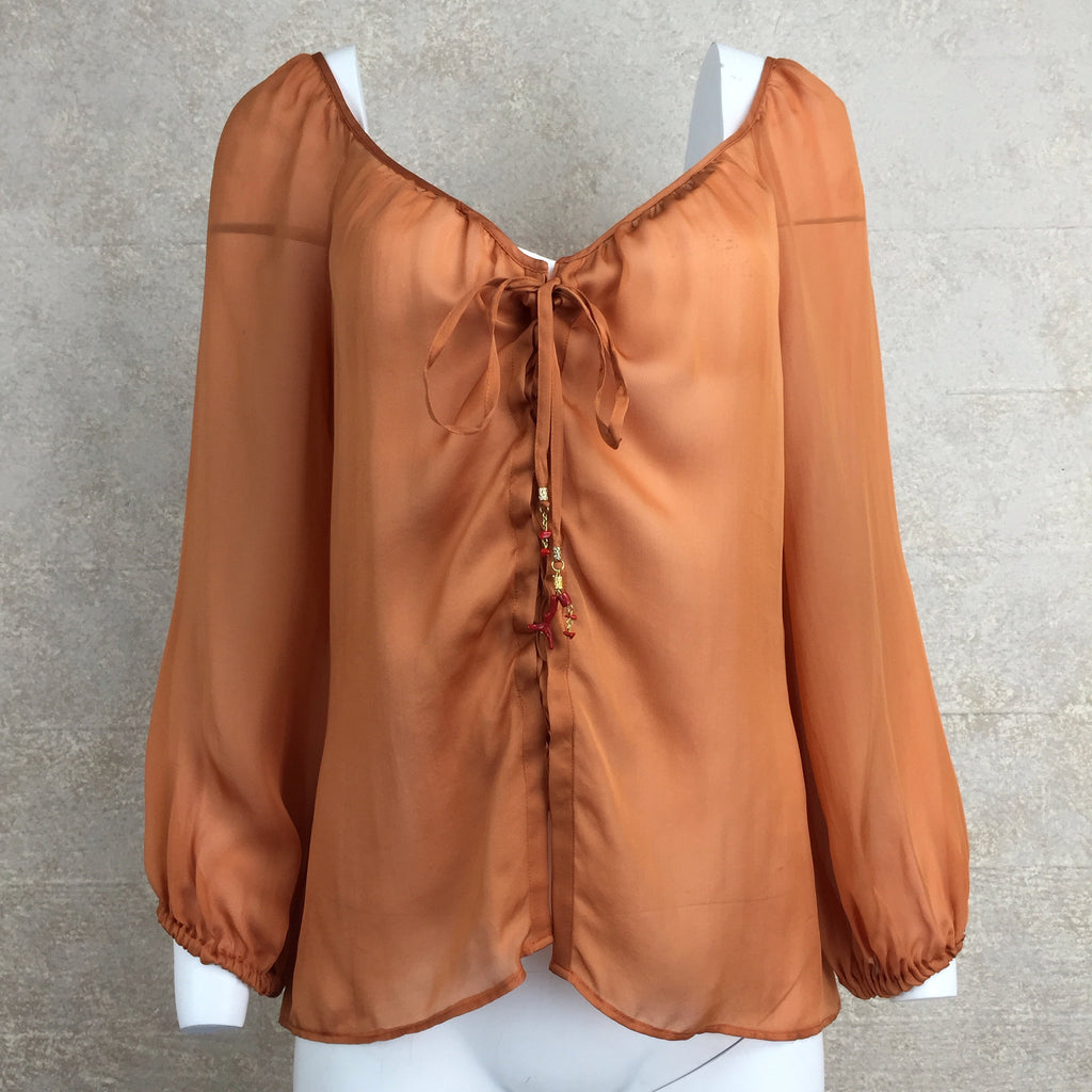 2000s ROBERTO CAVALLI Silk Lace-Up Blouse, Front