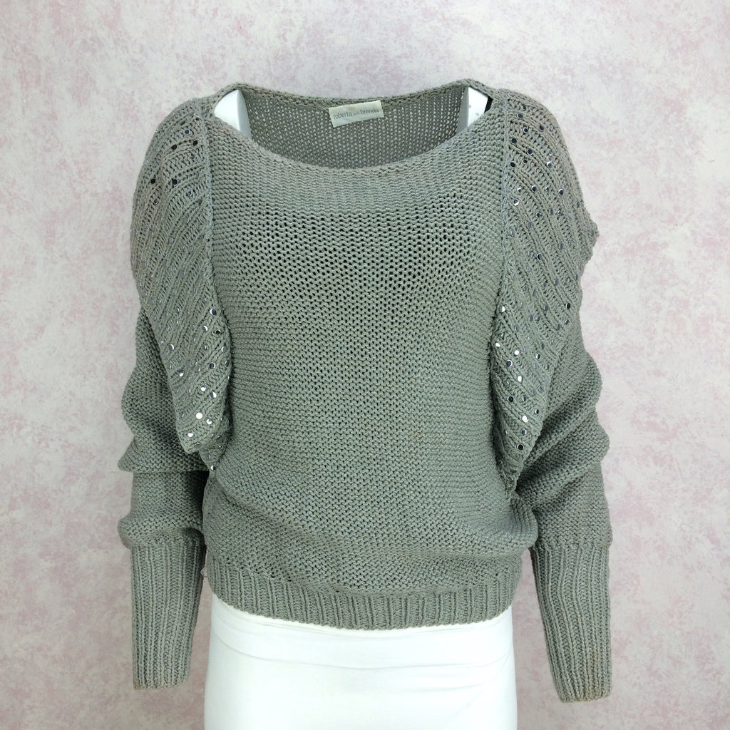 Vintage 80s Hand Knit Cotton Sweater w/Studs, Front