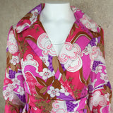 Vintage 70s Psychedelic Wrap Dress, bodice